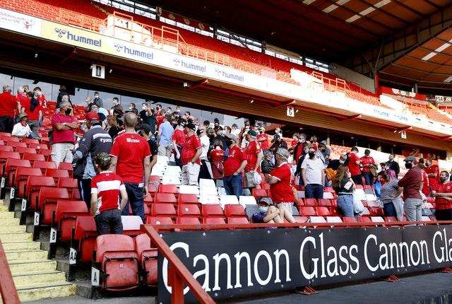 Charlton fans had to wait to leave The Valley row by row in a controlled exit after their League One loss to Doncaster