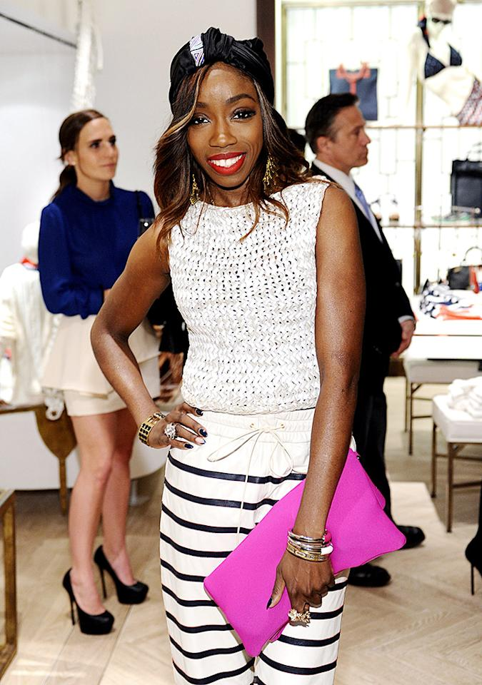 WEST HOLLYWOOD, CA - FEBRUARY 13:  Singer Estelle attends Tommy Hilfiger New West Coast Flagship Opening on Robertson Boulevard on February 13, 2013 in West Hollywood, California.  (Photo by Stefanie Keenan/Getty Images for Tommy Hilfiger)