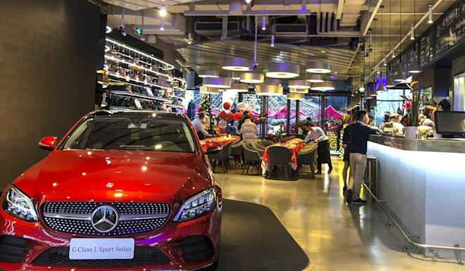 Most of the Mercedes Me concept store on the Bind in Shanghai is devoted to food and drink offerings. Photo: Pearl Liu