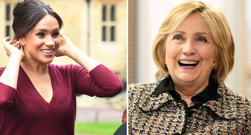 Meghan Markle met Hilary Clinton earlier this week. [Photo: Getty]