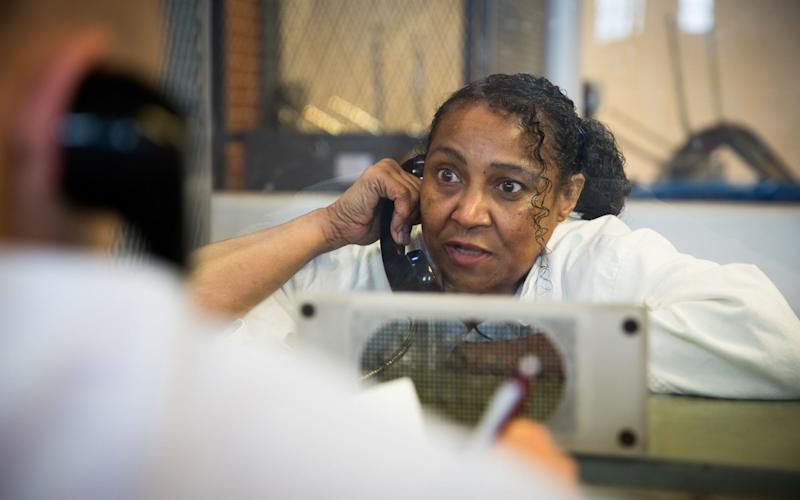 Linda Carty speaking to The Telegraph's Nick Allen on death row in Texas - James Breeden