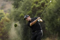 Patrick Cantlay hits from the 18th fairway during the third round of the Zozo Championship golf tournament Saturday, Oct. 24, 2020, in Thousand Oaks, Calif. (AP Photo/Marcio Jose Sanchez)