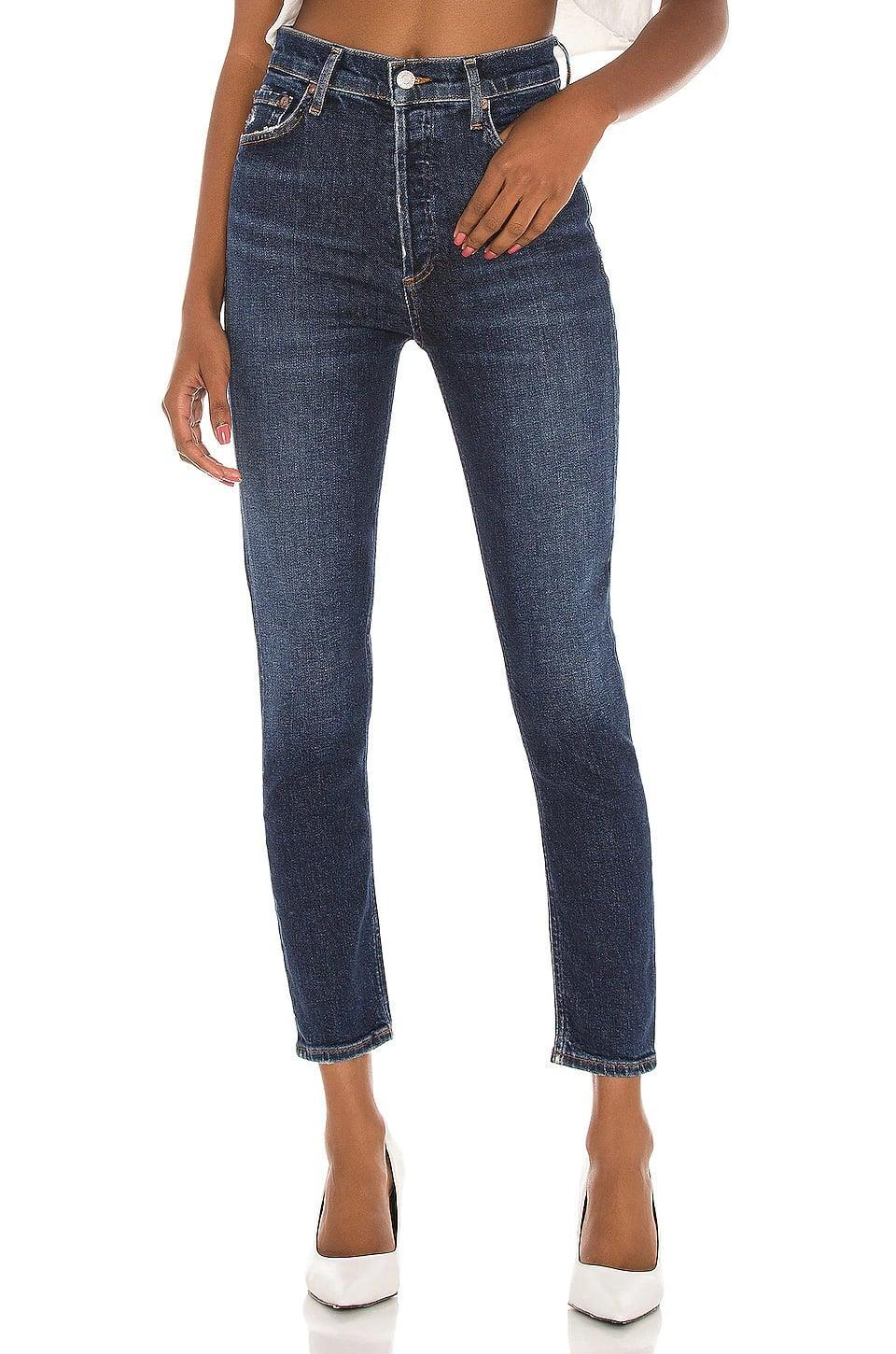 <p>The <span>AGOLDE Nico High Rise Slim</span> ($158) looks perfectly lived-in with light fading.</p>