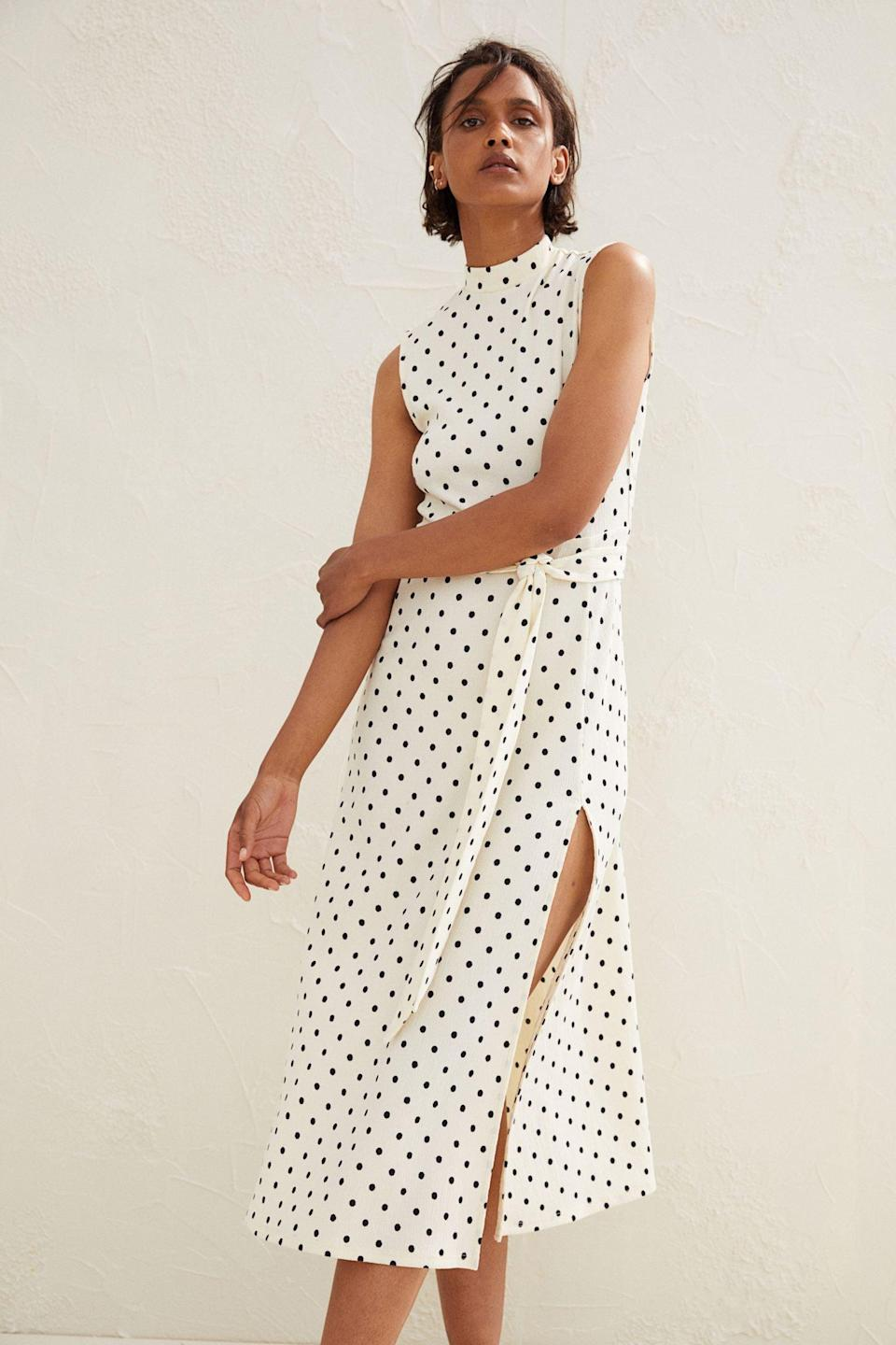 <p>For a polished yet relaxed look, this <span>Tie-belt Jersey Dress</span> ($36, originally $40) will impress your coworkers when you return to the office. The slit detail adds an unexpected yet tasteful element.</p>