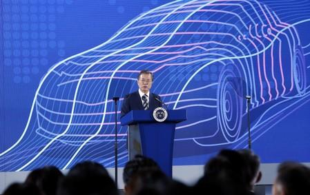 South Korean President Moon Jae-in delivers his speech during a ceremony declaring country's vision to lead future mobility tech at Hyundai Motor's Namyang R&D Center in Hwaseong