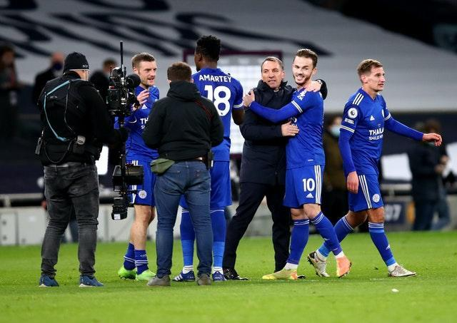 Leicester celebrate on the pitch at full-time at Tottenham