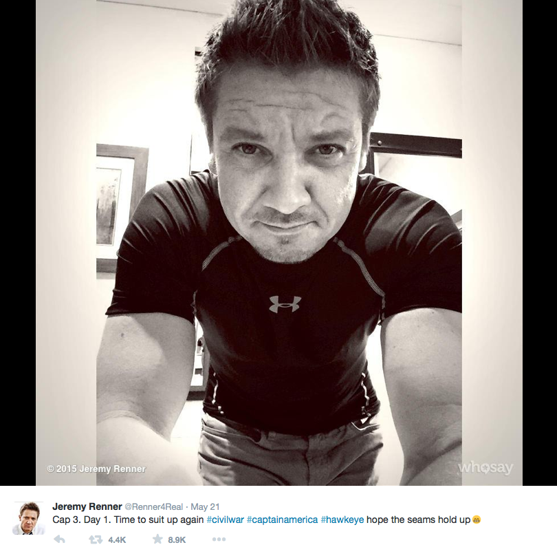 """Avengers nearly assembled. Jeremy Renner (Hawkeye) announced his arrival on set May 21 by tweeting, """"Time to suit up again… Hope the seams hold up."""""""