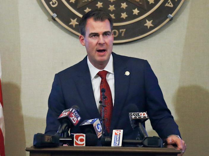 Oklahoma Gov. Kevin Stitt announces plans to reopen Oklahoma businesses after COVID-19 closures, Wednesday, April 22, 2020, in Oklahoma City.