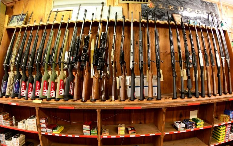 Various rifles are on display at Clark Brothers gun store in Virginia, where new laws under consideration would prohibit magazines with more than 10 rounds and the purchase of more than one weapon per month (AFP Photo/EVA HAMBACH)