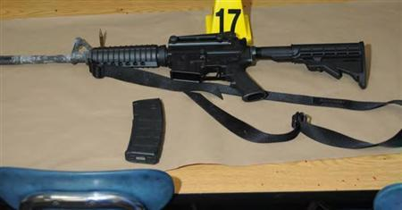 A Bushmaster rifle belonging to Sandy Hook Elementary school gunman Adam Lanza in Newtown, Connecticut is seen after its recovery at the school in this police evidence photo released by the state's attorney's office November 25, 2013. REUTERS/Connecticut Department of Justice/Handout via Reuters