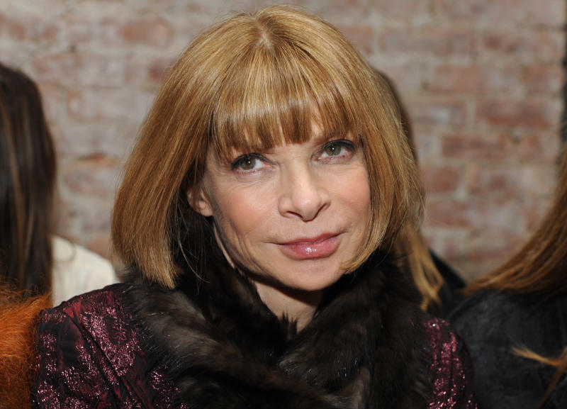 "FILE - This Friday, Feb. 12, 2010 photo shows Vogue Editor-in-Chief Anna Wintour before the start of the Rag & Bone fall 2010 collection during Fashion Week in New York.  Conde Nast is expanding Vogue editor-in-chief Anna Wintour's role. She has been named the company's artistic director. The appointment was announced Wednesday, March 13, 2013 by CEO Charles H. Townsend. Her new duties include developing an overall ""creative vision"" for Conde Nast, which has a portfolio of 18 consumer magazines including The New Yorker, Vanity Fair, Glamour, Allure and GQ. (AP Photo/Diane Bondareff, file)"