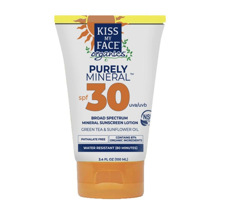 """<p>According to Bob Macleod and Steve Byckiewicz, the couple behind Kiss My Face, the brand's secret ingredient is """"love."""" The duo have been together for 40 years and founded an all-natural, mostly vegan skin-care line that's famous for sunscreens such as <span>Kiss My Face Organics Purely Mineral Sunscreen Lotion 30 SPF</span> ($12).</p>"""
