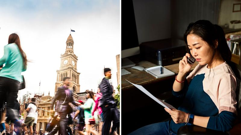 A composite image of pedestrians in Sydney, Town Hall and a woman on the phone while looking at a document. Images: Getty