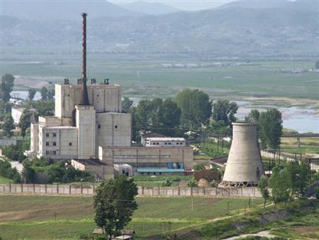 A North Korean nuclear plant is seen before demolishing a cooling tower in Yongbyon