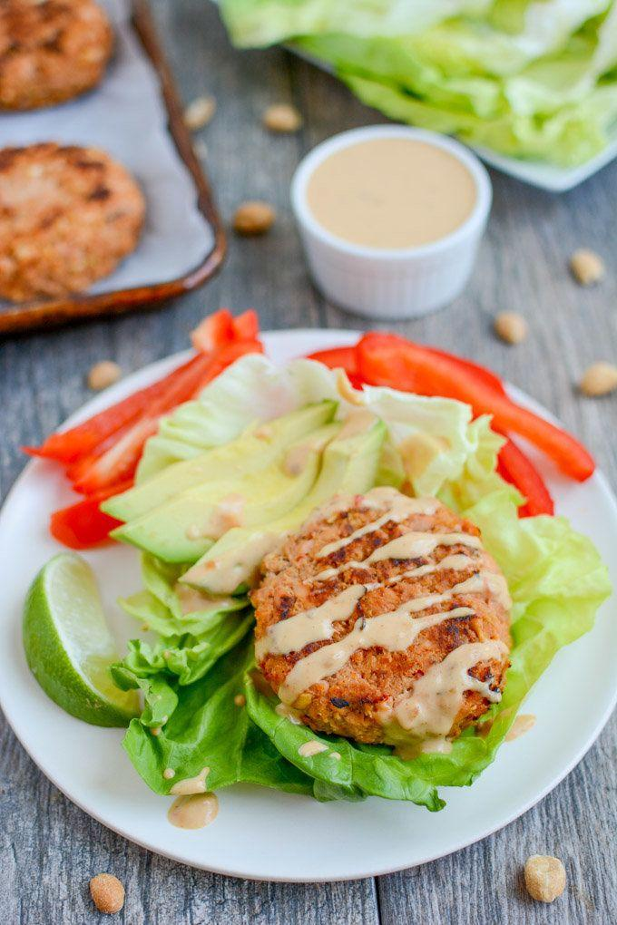 """<strong>Get the <a href=""""https://www.theleangreenbean.com/refreshed-thai-peanut-salmon-burgers/"""" target=""""_blank"""">Thai Peanut Salmon Burgers</a>recipe from The Lean Green Bean</strong>"""