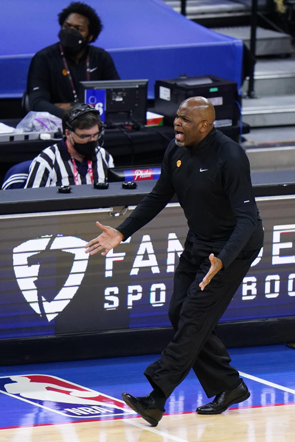 Atlanta Hawks' Nate McMillan reacts to a call during the first half of Game 5 in a second-round NBA basketball playoff series against the Philadelphia 76ers, Wednesday, June 16, 2021, in Philadelphia. (AP Photo/Matt Slocum)