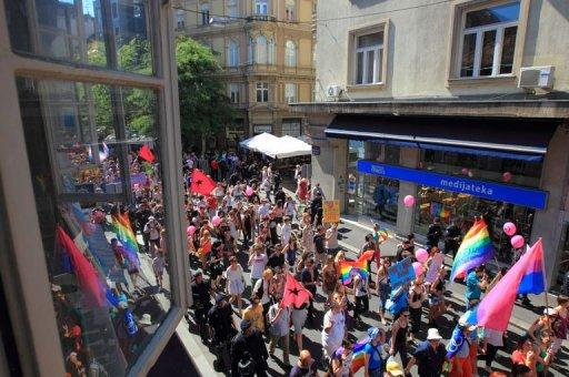 Participants take part in a Gay Pride parade in Zagreb. Some 2,000 people took part in a gay-rights march on Croatia's capital, calling on the government to boost the rights of same-sex couples in the largely conservative EU-bound country