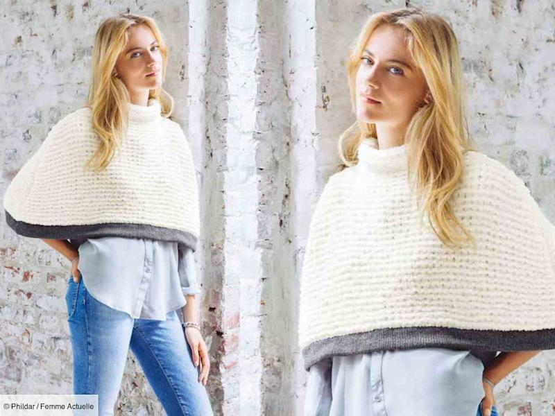 Tricot gratuit : le poncho bicolore au point mousse