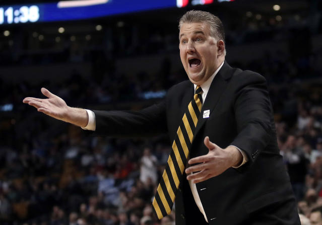 Purdue coach Matt Painter gestures from the sideline during the second half of the team's NCAA men's college basketball tournament regional semifinal against Texas Tech, Friday, March 23, 2018, in Boston. (AP Photo/Charles Krupa)