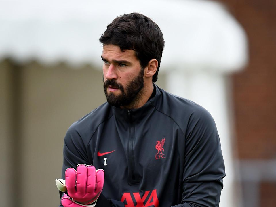 Liverpool goalkeeper Alisson (Liverpool FC via Getty Images)