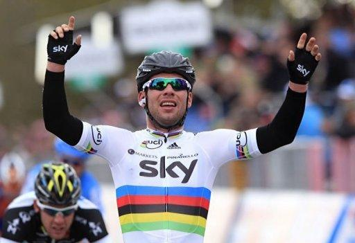 Mark Cavendish, of team Sky Procycling celebrates as he wins the second stage