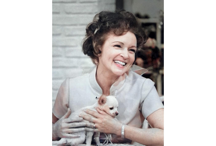 "This colorized image released by Margate And Chandler, Inc. shows actress and animal activist Betty White with a puppy from her 1970s series ""The Pet Set."" The restored 39-episode series, renamed ""Betty White's Pet Set,"" features celebrity guests Mary Tyler Moore, Carol Burnett, Burt Reynolds, James Brolin and Della Reese. (Margate And Chandler, Inc. via AP)"