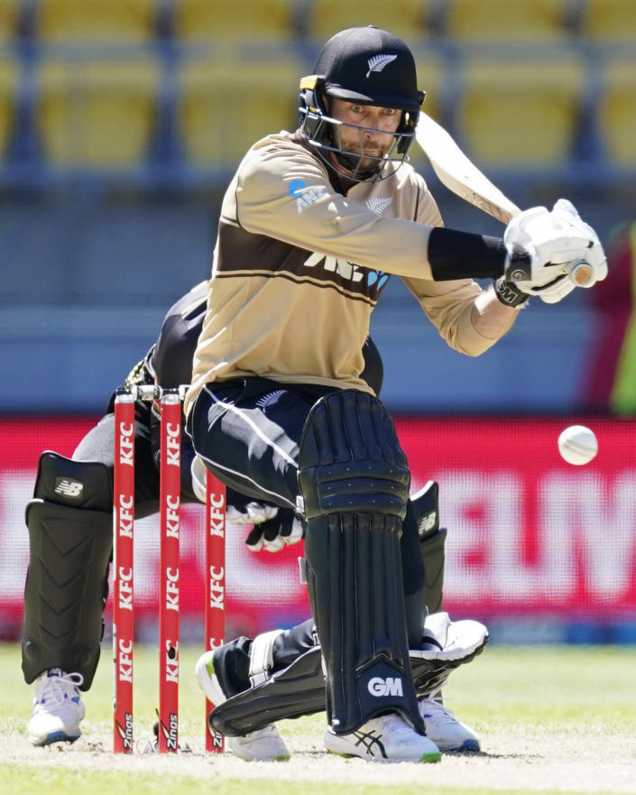 New Zealand's Devon Conway bats against Australia during their 5th T20 cricket international match at Wellington Regional Stadium in Wellington, New Zealand, Sunday, March 7 , 2021. (John Cowpland/Photosport via AP)