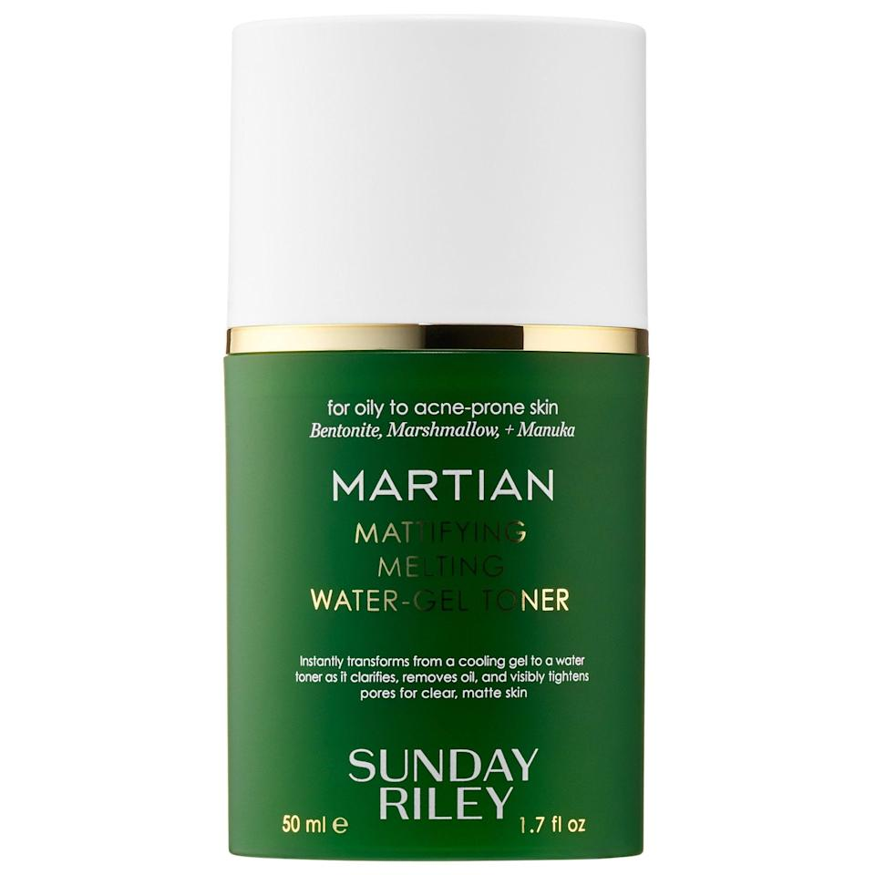 """<p>This pore-tightening <a href=""""https://www.popsugar.com/buy/Sunday-Riley-Martian-Mattifying-Melting-Water-Gel-Toner-576172?p_name=Sunday%20Riley%20Martian%20Mattifying%20Melting%20Water-Gel%20Toner&retailer=sephora.com&pid=576172&price=19&evar1=bella%3Aus&evar9=47494507&evar98=https%3A%2F%2Fwww.popsugar.com%2Fbeauty%2Fphoto-gallery%2F47494507%2Fimage%2F47494548%2FSunday-Riley-Martian-Mattifying-Melting-Water-Gel-Toner&list1=sephora%2Cbeauty%20shopping%2Cbeauty%20sale&prop13=mobile&pdata=1"""" class=""""link rapid-noclick-resp"""" rel=""""nofollow noopener"""" target=""""_blank"""" data-ylk=""""slk:Sunday Riley Martian Mattifying Melting Water-Gel Toner"""">Sunday Riley Martian Mattifying Melting Water-Gel Toner</a> ($19, originally $25) is out of this world when it comes to pore tightening on oily, acne-prone complexions.</p>"""