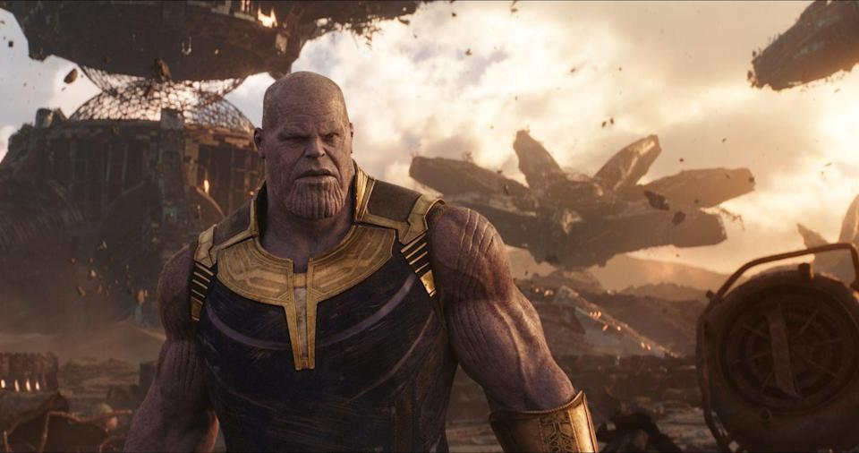 """<p>Thanos proves why he's the Big Bad villain of the franchise in an epic — and we mean <em>epic</em> — battle that pulls in characters from all corners of the MCU.</p><p><a class=""""link rapid-noclick-resp"""" href=""""https://www.amazon.com/Avengers-Infinity-Robert-Downey-Jr/dp/B07CKQ4R7X/?tag=syn-yahoo-20&ascsubtag=%5Bartid%7C10055.g.29023076%5Bsrc%7Cyahoo-us"""" rel=""""nofollow noopener"""" target=""""_blank"""" data-ylk=""""slk:AMAZON"""">AMAZON</a> <a class=""""link rapid-noclick-resp"""" href=""""https://go.redirectingat.com?id=74968X1596630&url=https%3A%2F%2Fwww.disneyplus.com%2Fmovies%2Fmarvel-studios-avengers-infinity-war%2F1WEuZ7H6y39v&sref=https%3A%2F%2Fwww.goodhousekeeping.com%2Flife%2Fentertainment%2Fg29023076%2Fmarvel-movies-mcu-in-order%2F"""" rel=""""nofollow noopener"""" target=""""_blank"""" data-ylk=""""slk:DISNEY+"""">DISNEY+</a></p>"""