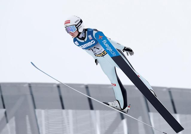 FIS Ski Jumping World Cup - Women's HS134 - Holmenkollen, Norway - March 11, 2018. Chiara Hoelzl of Austria competes. NTB Scanpix/Terje Bendiksby via REUTERS ATTENTION EDITORS - THIS IMAGE WAS PROVIDED BY A THIRD PARTY. NORWAY OUT. NO COMMERCIAL OR EDITORIAL SALES IN NORWAY.