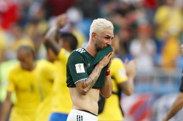 <p>Mexico's Miguel Layun leaves the field after the round of 16 match between Brazil and Mexico at the 2018 soccer World Cup in the Samara Arena, in Samara, Russia, Monday, July 2, 2018. Mexico lost 0-2. (AP Photo/Eduardo Verdugo) </p>