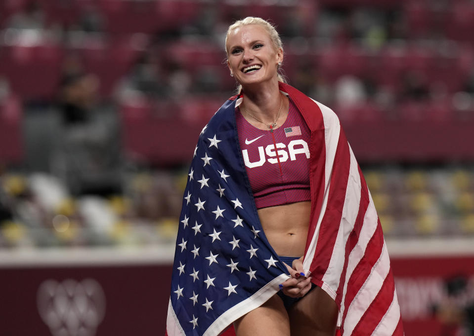 Gold medalist Katie Nageotte celebrates after winning the final of the women's pole vault at the 2020 Summer Olympics, Thursday, Aug. 5, 2021, in Tokyo.(AP Photo/Francisco Seco)