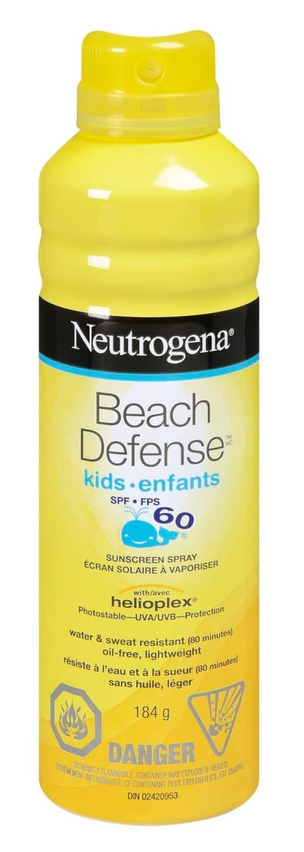 A closeup image of a sample of Neutrogena Beach Defense Kids SPF 60 Spray — a sunscreen product that is being recalled by Johnson & Johnson. The company  is also recalling Neutrogena Ultra Sheer children and adult sunscreen products after elevated levels of benzene were detected. (healthycanadians.gc.ca - image credit)