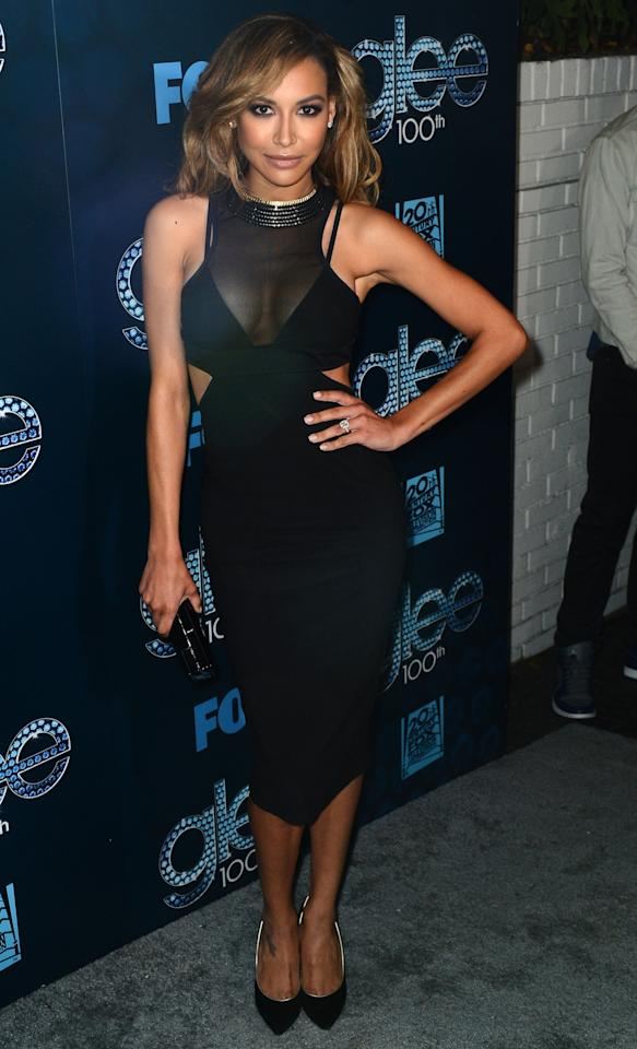 """LOS ANGELES, CA - MARCH 18: Actress Naya Rivera attends Fox's """"GLEE"""" 100th Episode Celebration held at Chateau Marmont on March 18, 2014 in Los Angeles, California. (Photo by Mark Davis/Getty Images)"""