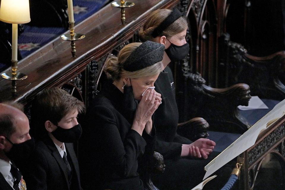 The Earl of Wessex, James Viscount Severn, the Countess of Wessex and Lady Louise Windsor during the funeral of the Duke of Edinburgh in St George's Chapel, Windsor Castle, Berkshire. Picture date: Saturday April 17, 2021.