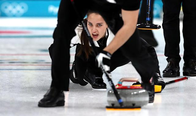 <p>Anastasia Bryzgalova of Olympic Athletes from Russia delivers a stone against Norway during the Curling Mixed Doubles Bronze Medal Game on day four of the PyeongChang 2018 Winter Olympic Games at Gangneung Curling Centre on February 13, 2018 in Gangneung, South Korea. (Photo by Ronald Martinez/Getty Images) </p>