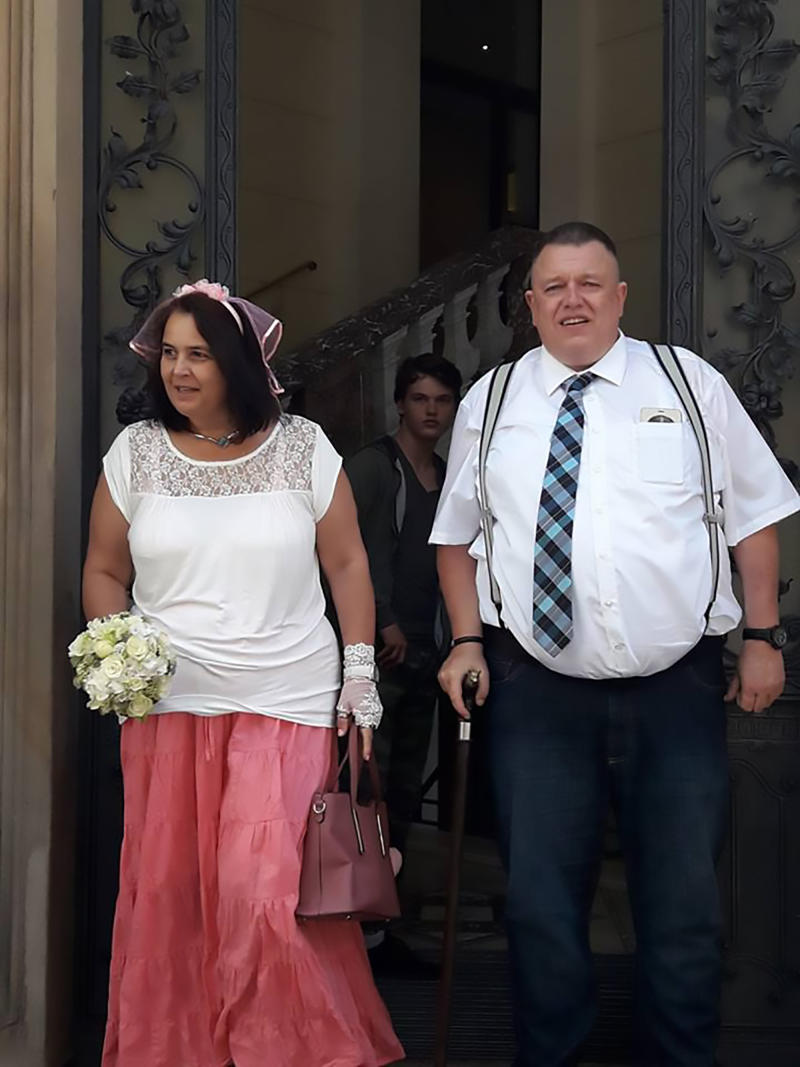 The happy couple at their wedding.