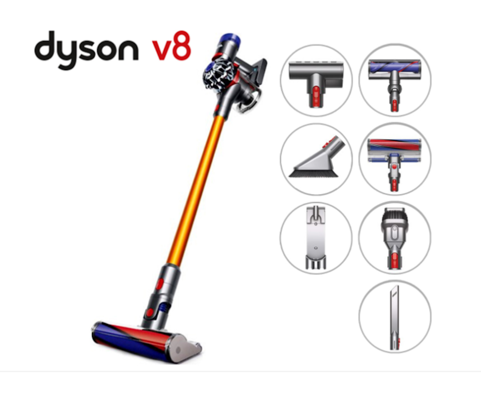 Product of Dyson v8 cordless vacuum cleaner with images of its 8 interchangeable heads.