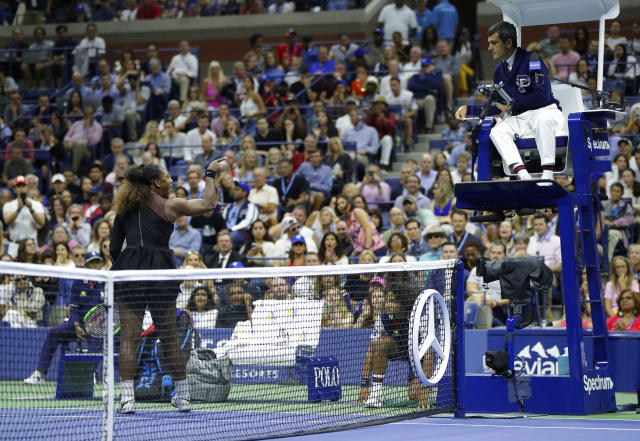Serena Williams argues with chair umpire Carlos Ramos during a match against Naomi Osaka, of Japan, in the women's final of the U.S. Open tennis tournament, Saturday, Sept. 8, 2018, in New York. (AP Photo/Julio Cortez)