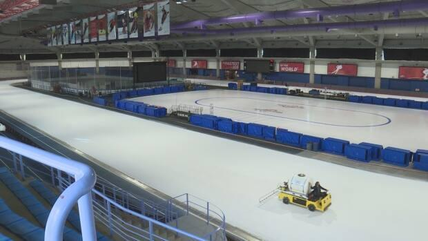 The ice at the Olympic Oval has returned after an 8-month absence. (Terri Trembath/CBC - image credit)