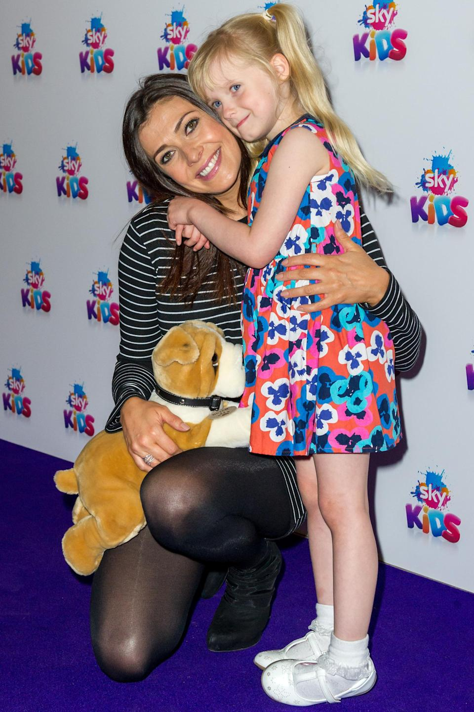 Kym Marsh and her daughter Polly at the Sky Kids app launch (WENN)