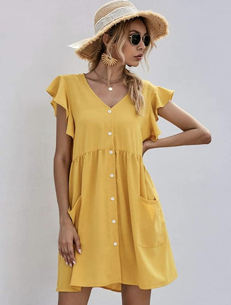 <p>Pair this <span>Romwe Button Down V-neck Shift Dress</span> ($26) with a straw hat and some slide sandals, and you're ready for the beach.</p>