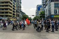 The Yangon protest came ahead of an ASEAN summit at the weekend