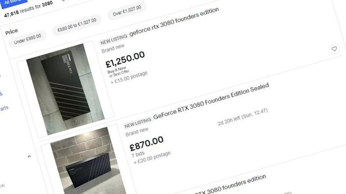 Ebay listings for the 3080 cards showing prices around £1,250 or £900
