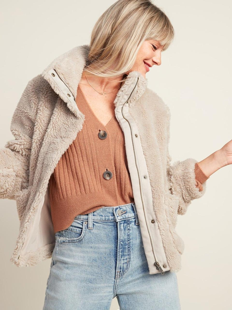 <p>They'll never want to take off this <span>Old Navy Relaxed Cozy Sherpa Faux-Fur Jacket</span> ($54).</p>