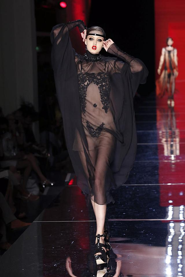 <p>Lindsey Wixson presents a creation by French designer Jean-Paul Gaultier during the Haute Couture Fall-Winter 2012-2013 collections in Paris. (Photo: PIERRE VERDY/AFP/GettyImages) </p>