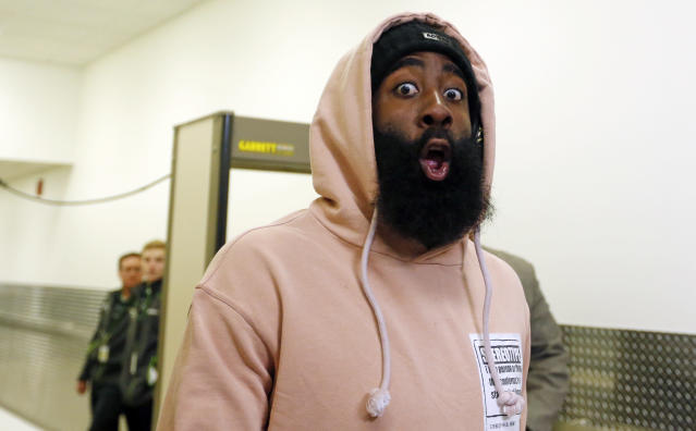James Harden's got something to say, y'all. (AP)