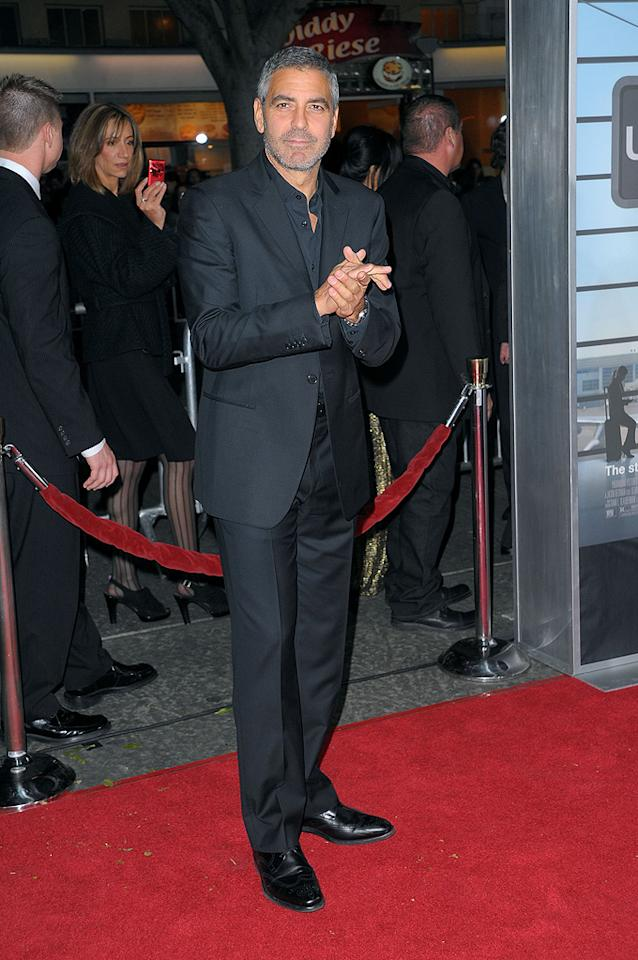 """<a href=""""http://movies.yahoo.com/movie/contributor/1800019715"""">George Clooney</a> at the Los Angeles premiere of <a href=""""http://movies.yahoo.com/movie/1810062520/info"""">Up in the Air</a> - 11/30/2009"""