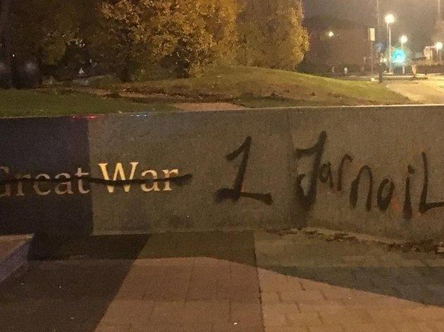 Racially aggravated graffitti was daubed on . a statue of a Sikh soldier