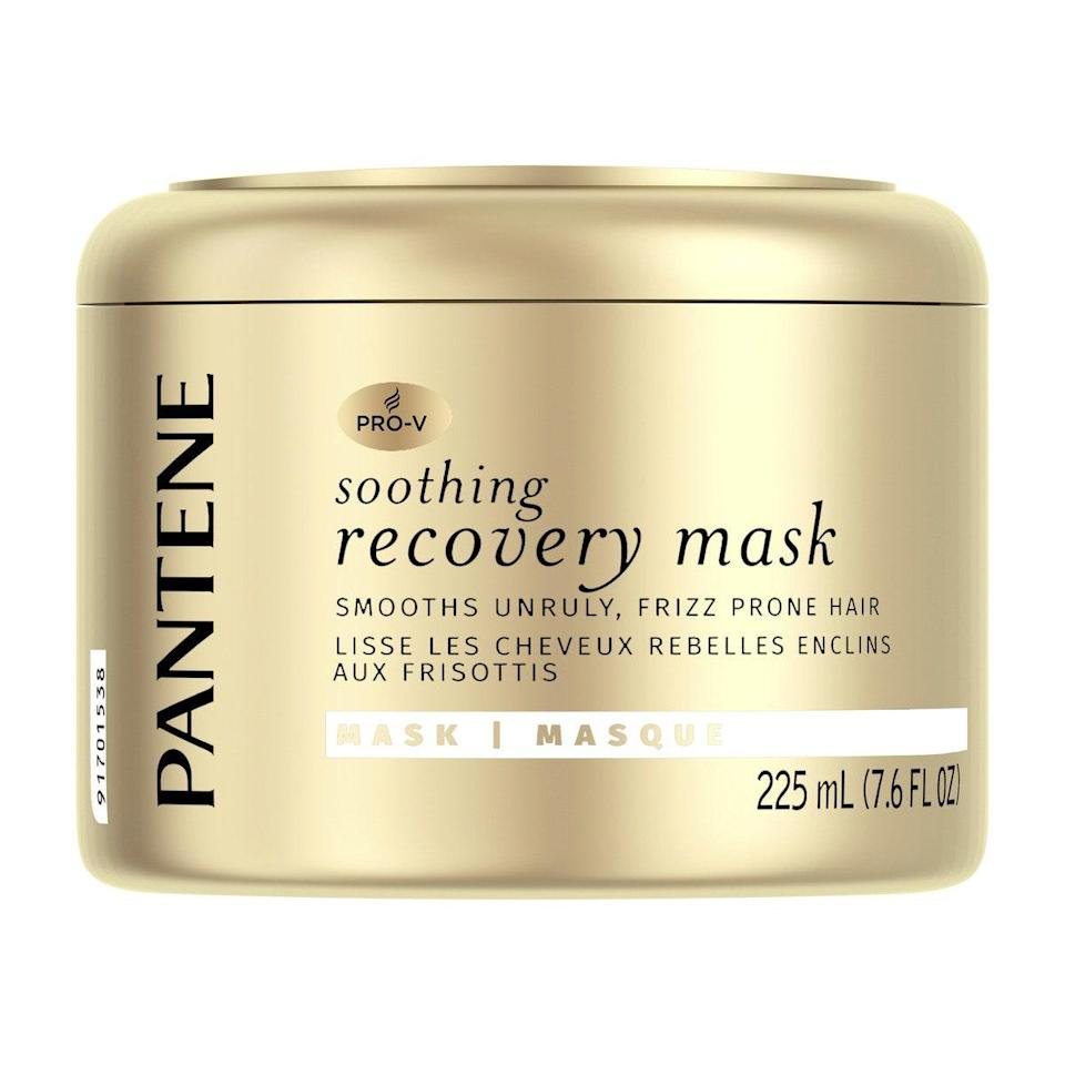 """Bergamy recommends the Pantene Pro-V Soothing Recovery Mask, which is enriched with moisturizing <a href=""""https://www.allure.com/story/best-natural-ingredients-for-your-hair?mbid=synd_yahoo_rss"""" rel=""""nofollow noopener"""" target=""""_blank"""" data-ylk=""""slk:avocado oil"""" class=""""link rapid-noclick-resp"""">avocado oil</a> to smooth frizz and combat fussy flyaways once and for all. After shampooing, simply comb the product through your hair using your fingers and leave it in for five to seven minutes before rinsing it out."""